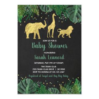 Goldfolien-Dschungel-Safari-Tierduschen-Einladung Einladung