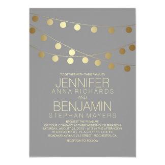 Goldfolien-Effekt-Schnur beleuchtet Hochzeit 12,7 X 17,8 Cm Einladungskarte
