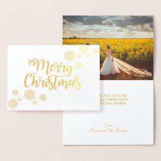 Goldfolien-elegantes Skript-frohe Weihnacht-Foto Folienkarte