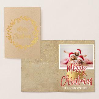 Goldfolien-frohe Weihnachtenwreath-Foto-Karte Folienkarte