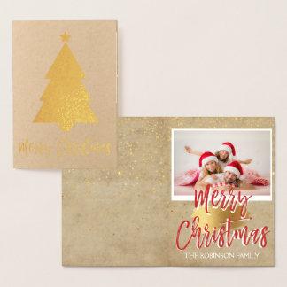Goldfolien-fröhliche Weihnachtsbaum-Foto-Karte Folienkarte