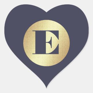 Goldfolien-Monogramm-Hochzeits-Aufkleber des Herz-Aufkleber