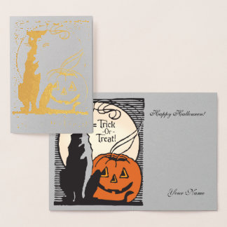 Goldfolien-orange Kürbis, Mond u. schwarze Katze Folienkarte