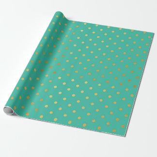 Goldfolien-Polka-Punkt-modernes aquamarines grünes Geschenkpapier
