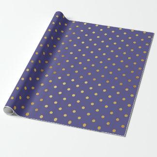 Goldfolien-Polka-Punkt-modernes dunkles lila Geschenkpapier