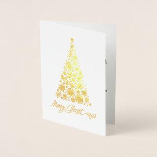 Goldfolien-Retro Weihnachtsbaum-Gruß-Karte Folienkarte
