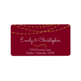 Goldfolien-Schnur-Lichter und Skript-Hochzeit Adressaufkleber
