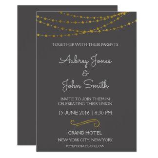 Goldfolien-Schnur-Lichter und Skript-Hochzeit Karte