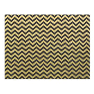 Goldfolien-Schwarz-Zickzack Muster Postkarte