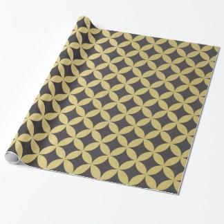 Goldfolien-schwarzer Diamant-Kreis-Muster Geschenkpapier