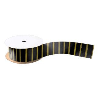 Goldfolien-Streifen auf schwarzem Band Satinband
