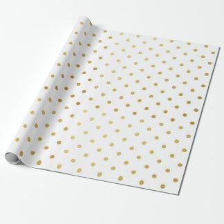Goldfolien-Tupfen-moderner Feiertags-weißes Geschenkpapier