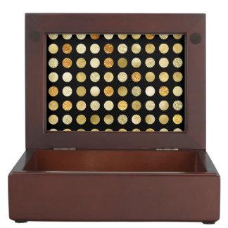 Goldfolien-und Glitter-Polka-Punkt-Schwarzes Erinnerungsdose