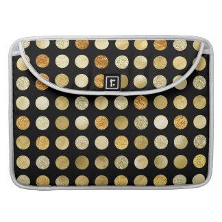 Goldfolien-und Glitter-Polka-Punkt-Schwarzes Sleeve Für MacBook Pro