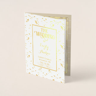 Goldfolien-Vintages Damast HOCHZEITS-PROGRAMM Folienkarte