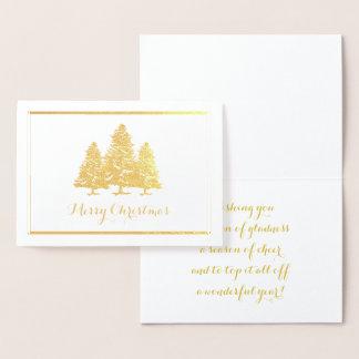 Goldfolien-Weihnachtsbaum-frohe Weihnacht-Karte Folienkarte