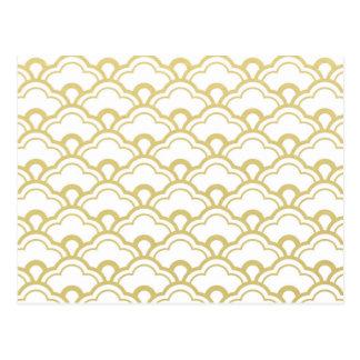 Goldfolien-Weiß ausgebogtes Muschel-Muster Postkarte