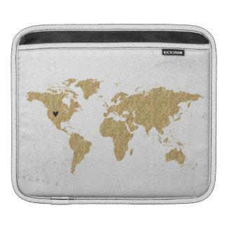 Goldfolien-Weltkarte-kundenspezifischer Sleeve Für iPads