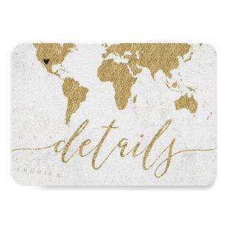 Goldfolien-Weltkarten-Hochzeit in Karte