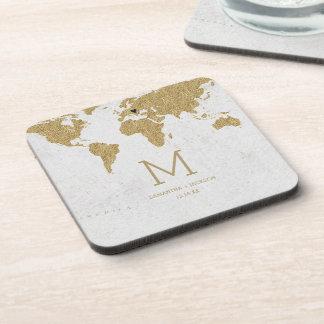 Goldfolien-Weltkarten-Hochzeit in Untersetzer