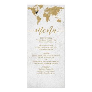Goldfolien-Weltkarten-Hochzeit in Urlaubsorts-Menü Werbekarte