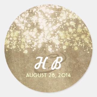 Goldfolienschnur beleuchtet rustikale Hochzeit Runder Aufkleber