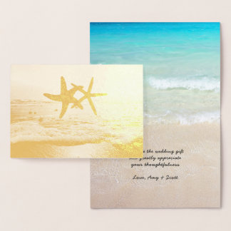 Goldfoliestarfish-Strand-Hochzeit danken Ihnen Folienkarte