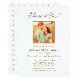 GoldFoto der Verlobungs-Party Einladungs-| Karte