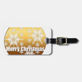 Goldfrohe Weihnacht-Schneeflocke-Gepäckanhänger Kofferanhänger