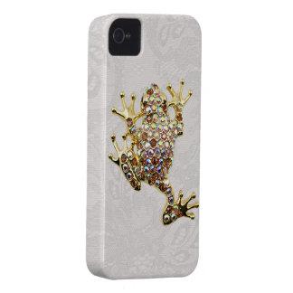 Goldfrosch-Juwel-Foto-Paisley-Spitze iPhone 4 Fall Case-Mate iPhone 4 Hüllen