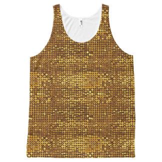 Goldfunkelnder Paillette-Blick Komplett Bedrucktes Tanktop