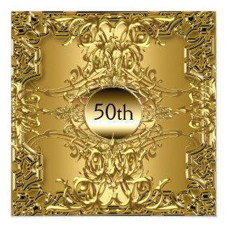 Goldgeburtstags-Party des Luxus-50. Quadratische 13,3 Cm Einladungskarte