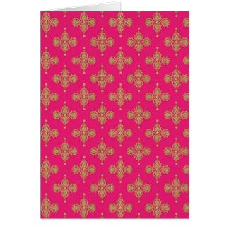 Goldgelber rosa magentaroter Musterhintergrund Grußkarte
