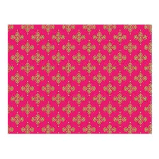 Goldgelber rosa magentaroter Musterhintergrund Postkarten