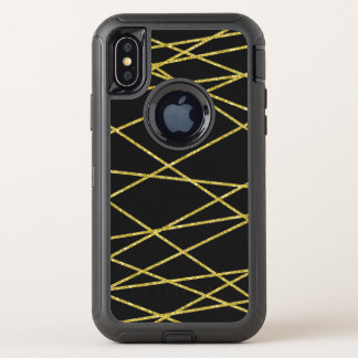 Goldgeometrisches Muster, OtterBox Defender iPhone X Hülle