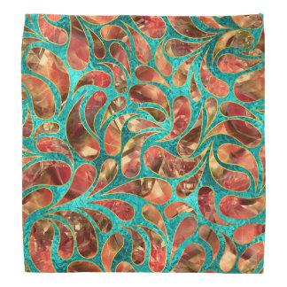 Goldgerahmtes rotes Edelstein-Paisley-Muster auf Halstuch