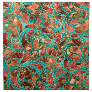 Goldgerahmtes rotes Edelstein-Paisley-Muster auf Stoffserviette
