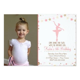 GoldGlitter-Ballett-Tanz-Geburtstags-Einladung 12,7 X 17,8 Cm Einladungskarte