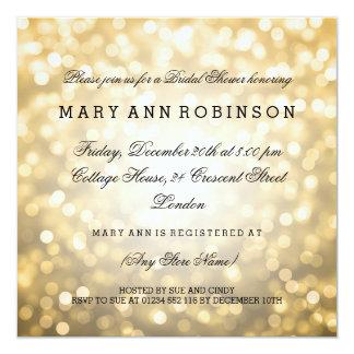 GoldGlitter beleuchtet elegantes Brautparty Quadratische 13,3 Cm Einladungskarte