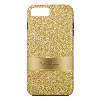 GoldGlitter-Beschaffenheit mit Monogramm iPhone 7 Plus Hülle