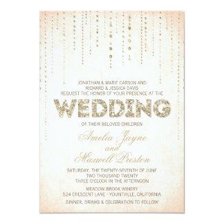 GoldGlitter-Blick-Hochzeits-Einladung 12,7 X 17,8 Cm Einladungskarte