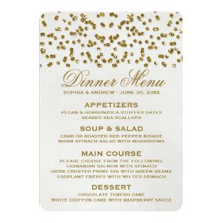 GoldGlitter-Blickconfetti-Hochzeits-Menü Einladungskarte