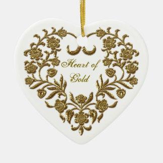 GoldGlitter blühen das Herz-Verzierung des Keramik Ornament