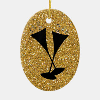 GoldGlitter-Champagne-Flöten-Feier-Daten Keramik Ornament