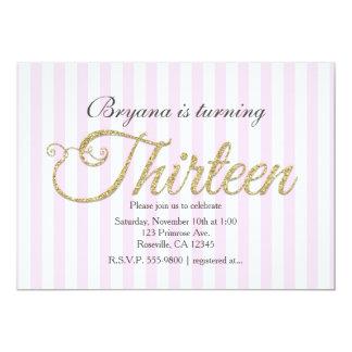 GoldGlitter DREIZEHN 13 rosa Party Einladungen