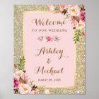 GoldGlitter erröten rosa Blumenhochzeits-Zeichen Poster