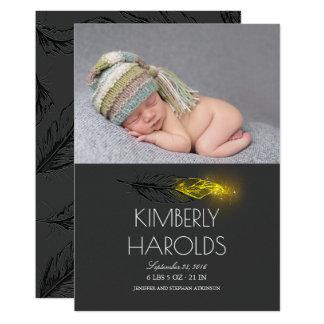 GoldGlitter-Feder-neugeborene Baby-Foto-Geburt 12,7 X 17,8 Cm Einladungskarte