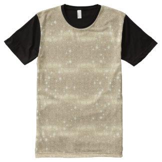 GoldGlitter-Galaxie-Imitat-Raum-Schein T-Shirt Mit Bedruckbarer Vorderseite