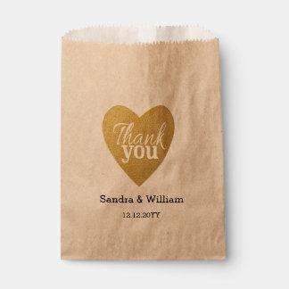 GoldGlitter-Herz-Hochzeit danken Ihnen Geschenktütchen