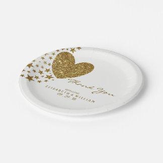GoldGlitter-Herz und Sterne, die Wedding sind Pappteller